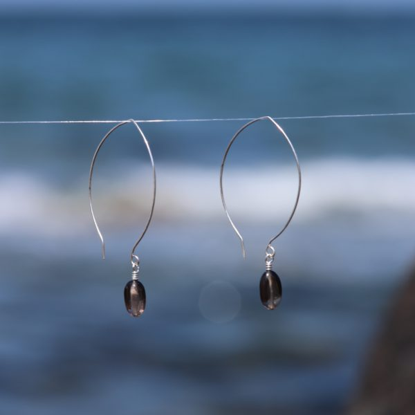 Contemporary Leaf Shaped and Smokey Quartz Drops 4