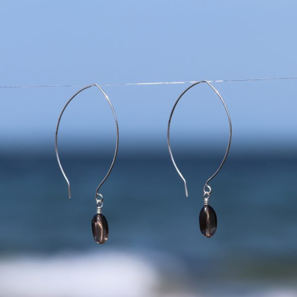Contemporary Leaf Shaped and Smokey Quartz Drops