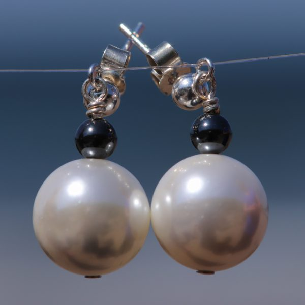 Faux Pearl and Haematite drops 2