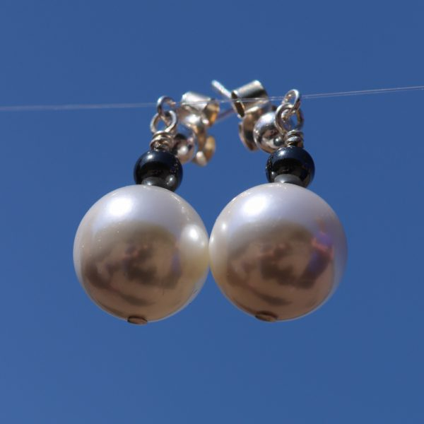 Faux Pearl and Haematite drops 3