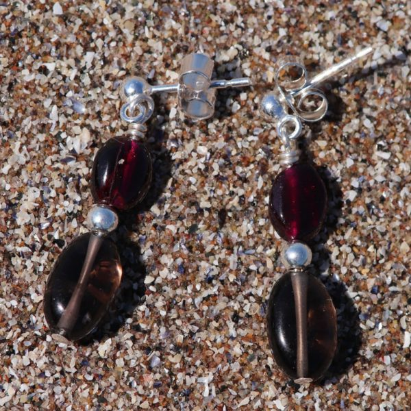 Garnet and Smokey Quartz Drops 2-min