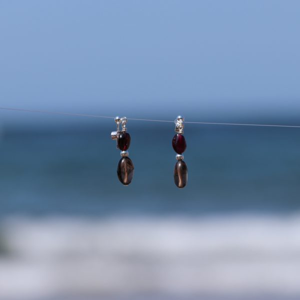 Garnet and Smokey Quartz Drops 6