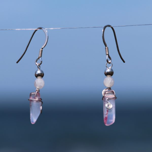 Rose and Pink Quartz Earring Drops 4