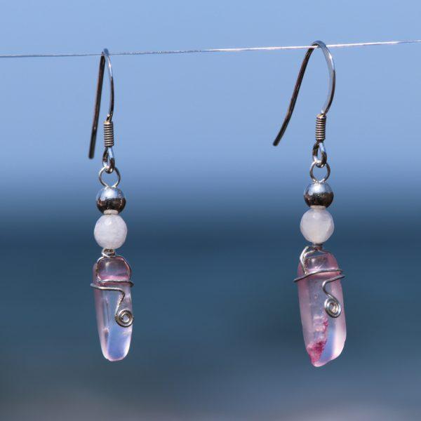 Rose and Pink Quartz Earring Drops 5