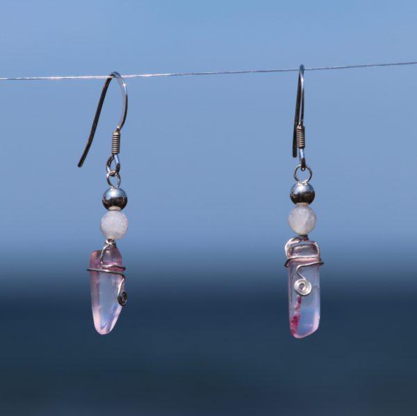 Rose and Pink Quartz Earring Drops