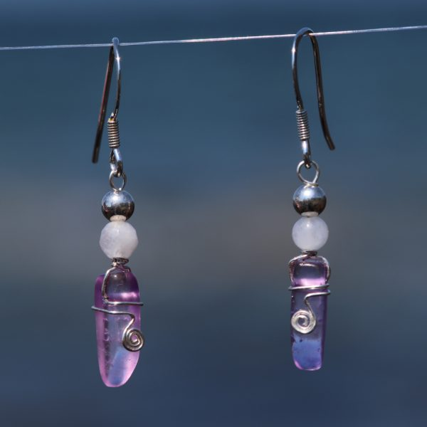 Rose and Purple Quartz Earring Drops 2
