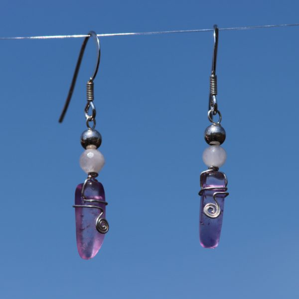 Rose and Purple Quartz Earring Drops 3