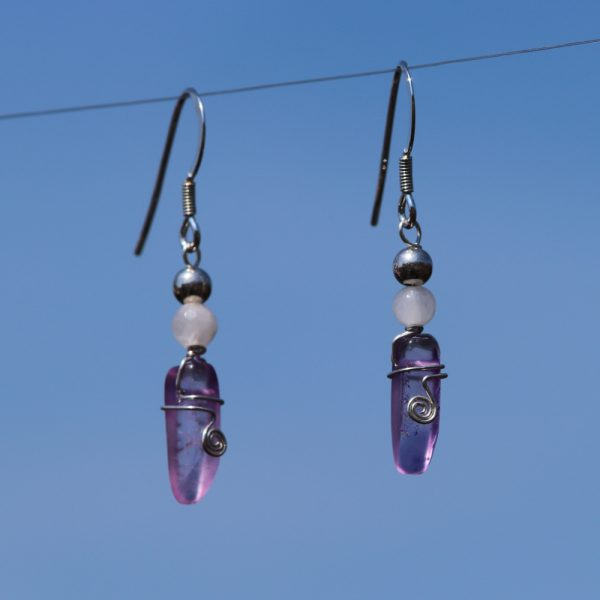 Rose and Purple Quartz Earring Drops 4