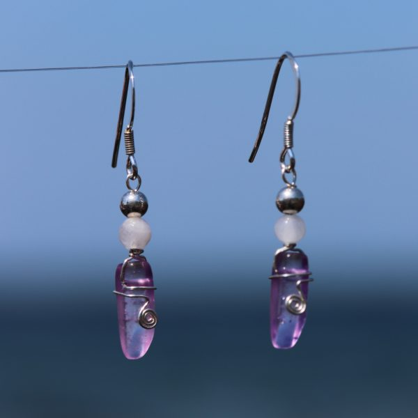 Rose and Purple Quartz Earring Drops 5