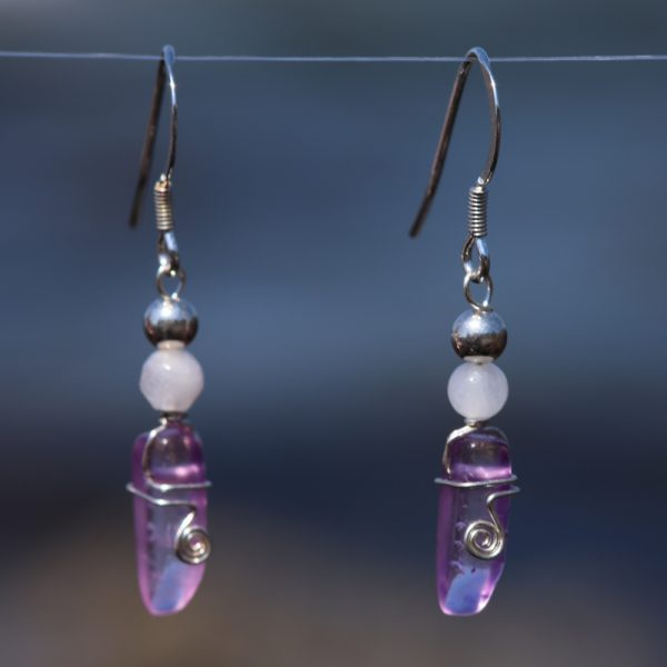 Rose and Purple Quartz Earring Drops 6