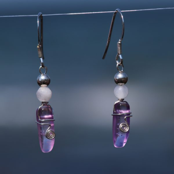 Rose and Purple Quartz Earring Drops