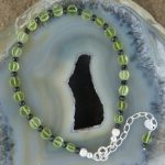 Sparkly Micro faceted Black Spinel and Peridot Braclet-min