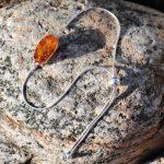 Amber and silver slider bracelet 1