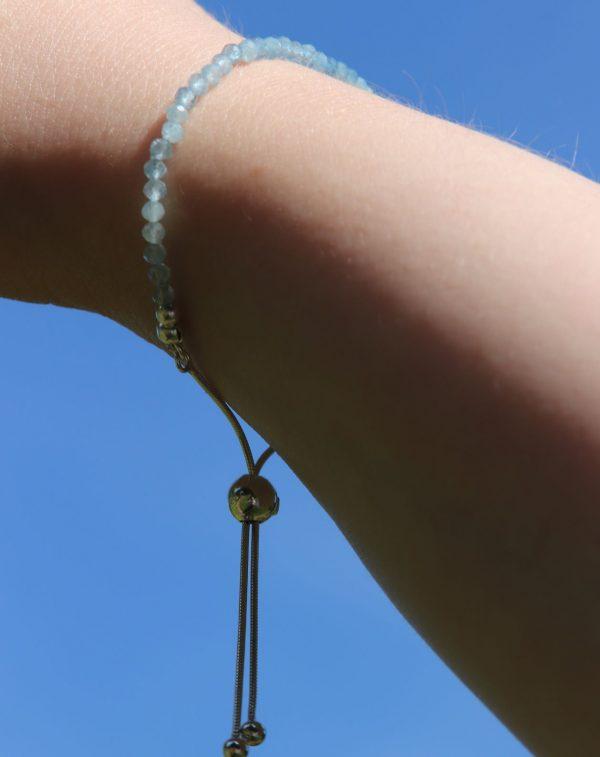 Aquamarine tiny faceted bead bracelet 1-min