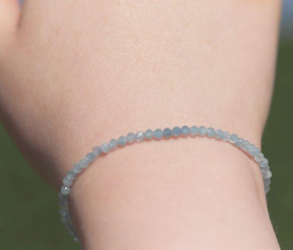 Aquamarine tiny faceted bead bracelet 4-min