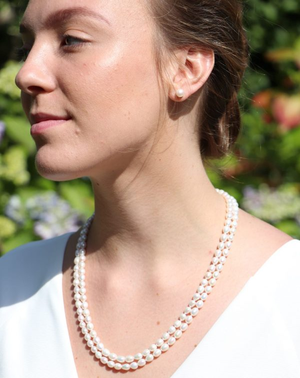 Double row drop pearl knecklace 1