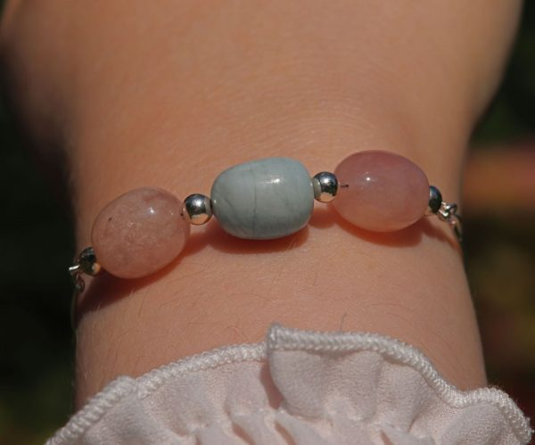 Milky Morganite and Aquamarine slider bracelet 1-min (1)