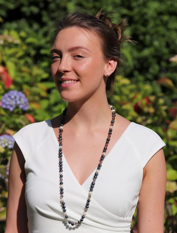Peackock and White Freshwater Pearl with Smokey Quartz Knecklace 2 (1)