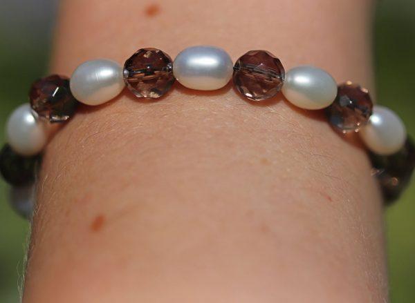 Smokey Quartz and Freshwater Pearls Bracelet 1-min (1)