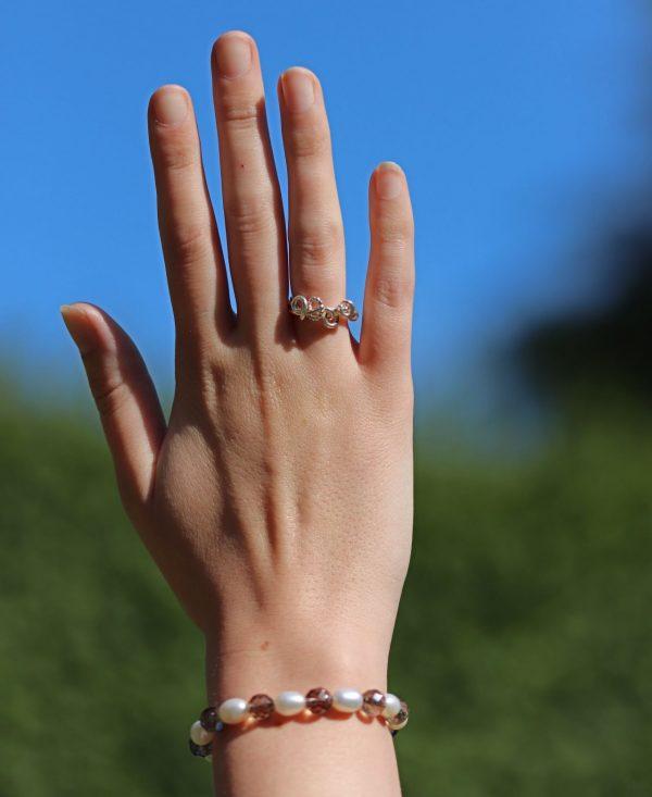 Smokey Quartz and Freshwater Pearls Bracelet 2-min (1)