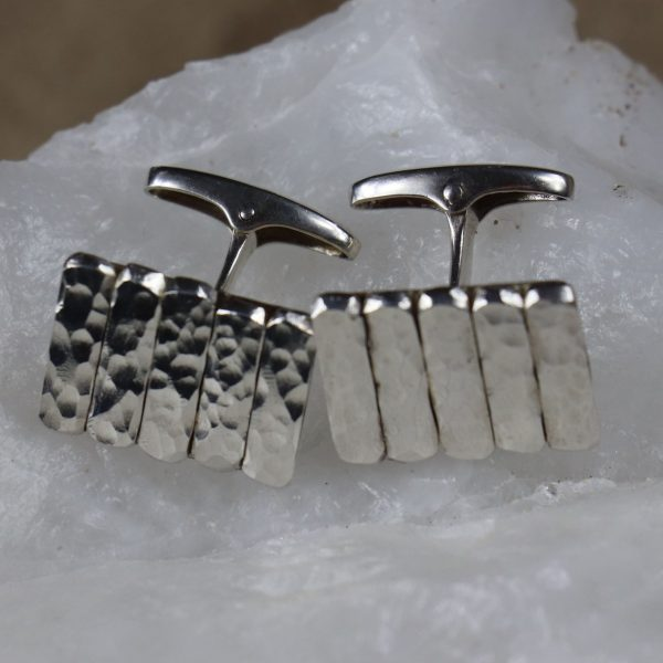Hammered Bar Cufflinks 6 b