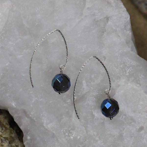 Iridescent Blue Quartz Earrings 2 b
