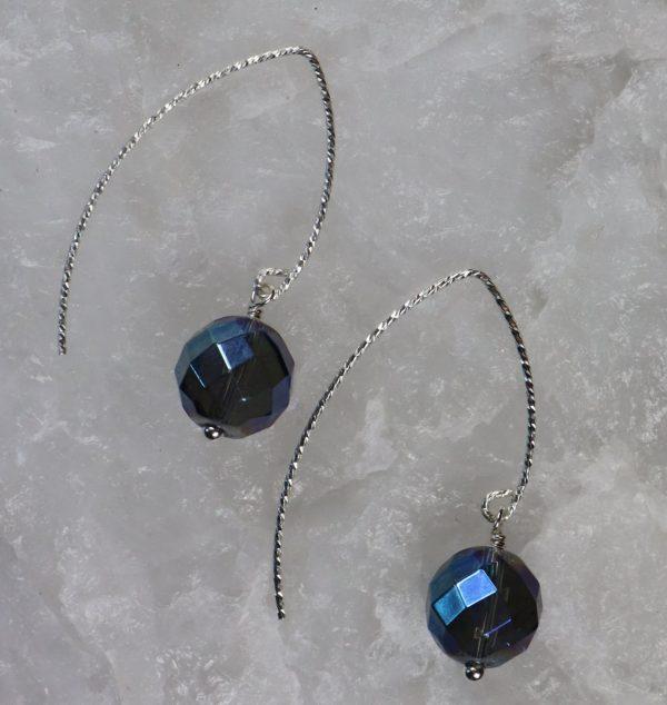 Iridescent Blue Quartz Earrings 3 b
