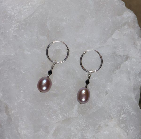 Lavender Pearl Drop Hoop 3 b