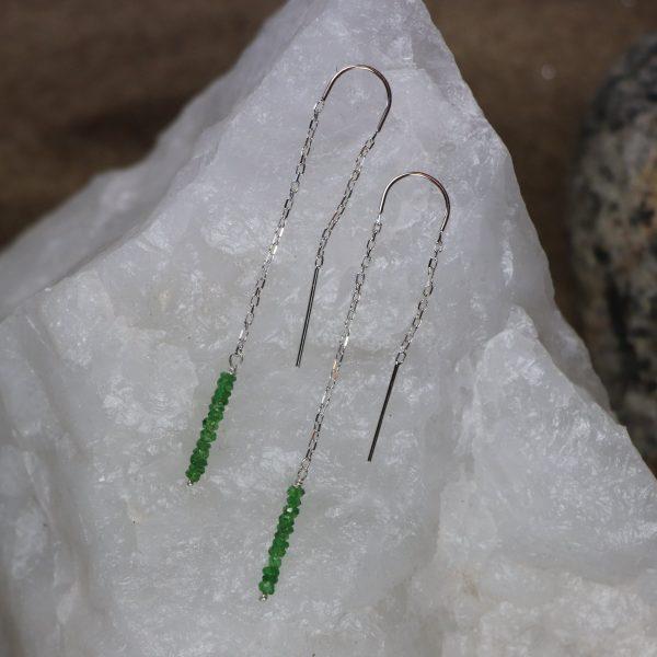 Tsavorite Garnet Threader Earrings 10 b