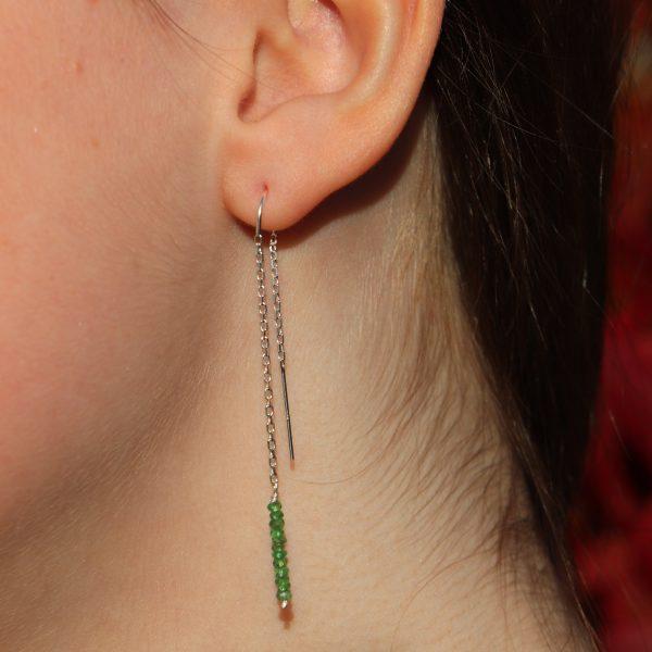 Tsavorite Garnet Threader Earrings 7 b