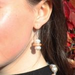 Button and Coin Pearls Earring 14 b
