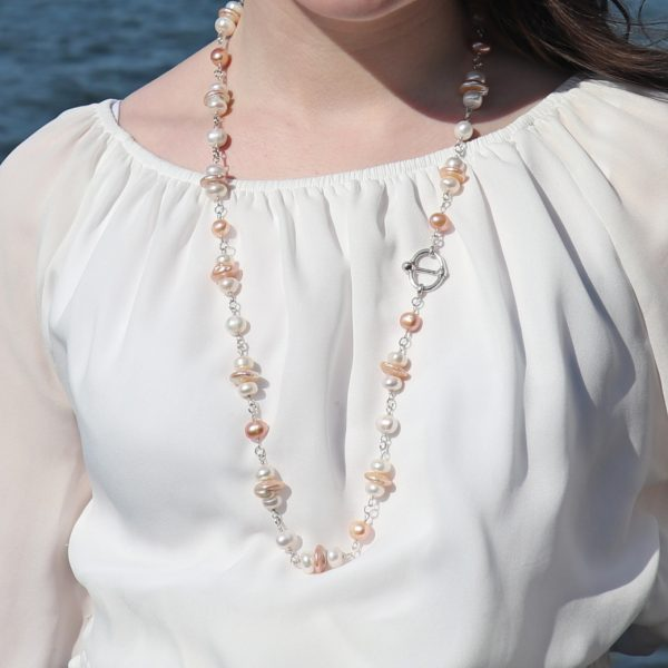 Button and Coin Pearls necklace 16