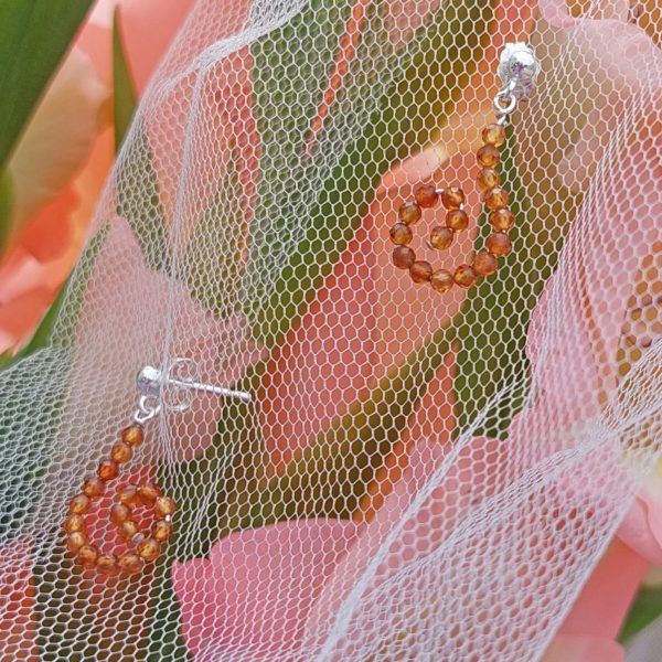 Hessonite Garnet Sparkle Hook Earrings 1