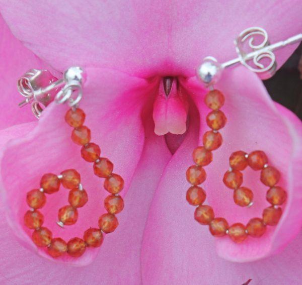 Hessonite Garnet Sparkle Hook Earrings 2